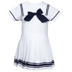 Baby girls Navy Blue and White Cotton Sailor Dress