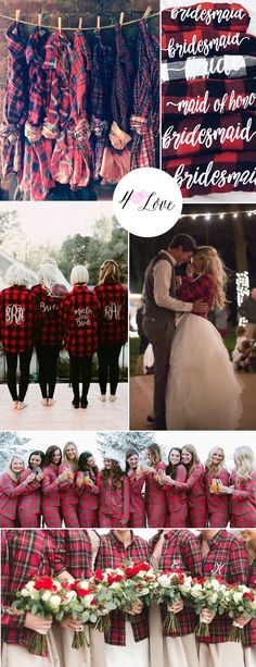 Flannel bridesmais shirts for getting ready! Perfect for fall weddings.