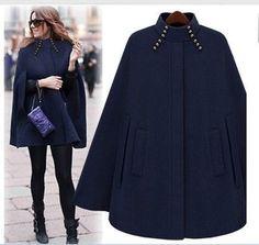 Fashion Womens Black Batwing Cape Wool Poncho Jacket Winter Warm ...