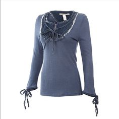 """Knit Sweater Denim (M) logo-1 Sm- 2 Med- 2 Lg Nice Knit Sweater Very Cute on All Brand NWT Small Pit to Pit is 16""""-Length-25"""" Med Pit to Pit is 17""""-Length is 25"""" Lg Pit to Pit is 20""""-Length is 24""""  Offers-PRICE FIRM‼️ T&J Designs Tops Tees - Long Sleeve"""
