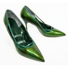 Vintage 1960s Mad Men green patent leather pointy toe heels shoes... ($140) ❤ liked on Polyvore