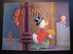 Vintage Old Walt Disney 3D Color Postcard Donald Duck & Villains