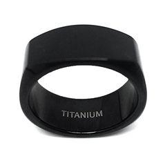 9mm - Man or Ladies - Titanium Black Enamel Quadrant Four Corner Matt Brushed with Shiny Beveled Edge Wedding Band Ring. Genuine Titanium. 30 Day Money Back Guarantee. Hypoallergenic. Beveled Edge. Be Whare Of Replicas!.