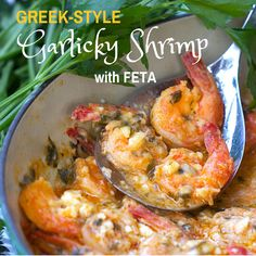 Greek Style Garlicky Shrimp: a steaming pot of shrimp in spicy lemon-garlic sauce with melted feta - serve with crusty bread to sop up every delicious drop. Makes a perfect Party Appetizer. Great over pasta too. Greek Recipes, Fish Recipes, Seafood Recipes, Cooking Recipes, Healthy Recipes, Detox Recipes, Shrimp Dishes, Fish Dishes, Greek Dishes