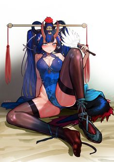 1girl bad_id bad_pixiv_id bangs black_legwear blue_hair blue_leotard blush breasts cleavage closed_mouth dragon_tail fan hair_rings highleg highleg_leotard highres holding holding_fan horns knee_up large_breasts leotard loncspace long_hair looking_at_viewer oni_horns original shoes single_shoe sitting solo tail thighhighs thighs toes twintails very_long_hair