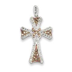 Sterling Silver & Rhodium Diamond Cross #Pendant