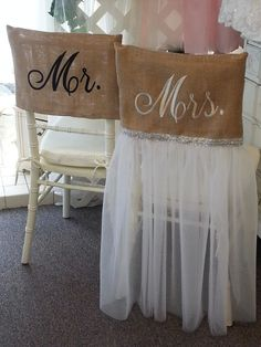 Trendy and cute! These handmade Mr. burlap chair covers rentals are the perfect addition to your contemporary Wedding décor. A creative way to announce the newly married couple and their very special seats. We also have a burlap umbrella to rent Shed Wedding, Rustic Wedding, Wedding Ideas, Wedding Reception, Camo Wedding, Luxury Wedding, Diy Wedding, Wedding Venues, Bridal Shower Chair