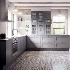 Køkkendesign til det moderne liv: Find dine nye køkkenmøbler Bodbyn Kitchen Grey, Ikea Kitchen, Rustic Kitchen, Kitchen Cabinets, White Shaker Kitchen, Shaker Style Kitchens, Grey Kitchens, Grey Interior Design, Restaurant Interior Design
