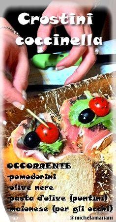 Crostini Coccinella - Occorrente: patè d'olive, olive nere, pomodorini pachino, foglia di insalata e prosciutto crudo a piacimento.