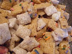 Valentine Chex Mix. A yummy twist to the traditional muddy buddies chex mix.
