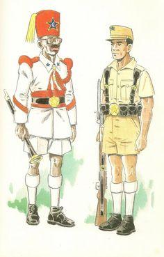 GUARDIA COLONIAL DEL GOLFO DE GUINEA.Sobre 1950 a 1968 Musico indigena en uniforme de gala en formación - Recluta europeo en unifo...me de gala