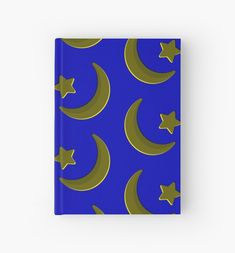 Gold on Blue, crescent moon and star pattern