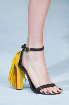 Just Cavalli Ankle Strap Sandal with Yellow Fringe Heel Fall 2014 Detail #Shoes #Heels