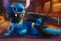 """Stitch and Toothless"" by TsaoShin - dressed as each other! So cute, I just can't stand it. (Look at Toothless' scarf!) Even though Toothless isn't Disney, I will put them here Disney Amor, Art Disney, Disney Kunst, Disney Magic, Disney Movies, Disney Stuff, Disney Crossovers, Disney Characters, Kid Movies"