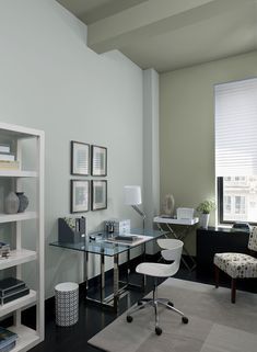 Charming Gray Home Office Ideas   Mod Gray Home Office   Paint Color Schemes Ben  Moore  Storm Cloud Gray Accent Wall U0026 Ceiling Smoke Walls Sebring White  Accent