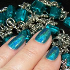 Teal Holographic Indie Nail Polish Elysian : Custom by PrettyJelly