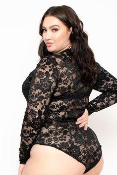 e55e8ef759 Plus Size Lace Cut-Out Bodysuit - Black