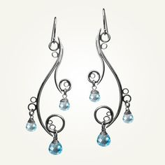 Spiral Earrings, Sterling Silver, Handcrafted, Blue Topaz Gemstone, Bubble, Wave, Swirl, Loop. GREEK ISLE EARRINGS with Blue Topaz.