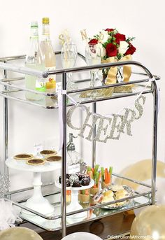Ideas for Entertaining - set up a bar cart with more than just drinks #wowwithtownhouse #sponsored