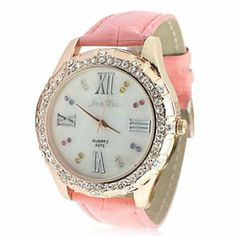Tanboo Women's Leather Band Analog Quartz Wrist Watch With Rhinstone Decoration (Pink) by Tanboo. $12.99. Women's Watche. Casual Watches Feature Water Resistant. Wrist Watches. Gender:Women'sMovement:QuartzDisplay:AnalogStyle:Wrist WatchesType:Casual WatchesFeature:Water ResistantBand Material:PU, LeatherBand Color:PinkCase Diameter Approx (cm):4.3Case Thickness Approx (cm):1.5Band Length Approx (cm):24Band Width Approx (cm):2