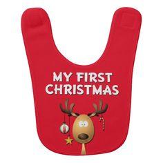 Baby's First Christmas Reindeer Bib