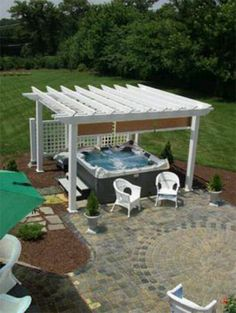 3 Awesome Cool Ideas: Roll Up Blinds Porches wooden blinds and curtains.Roll Up Blinds Porches roller blinds kids. Hot Tub Pergola, Hot Tub Backyard, Hot Tub Garden, Jacuzzi Outdoor, Backyard Patio, Backyard Landscaping, Hot Tub Privacy, Privacy Blinds, Blinds Diy