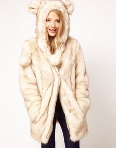 ASOS Faux Fur Hooded Coat With Ears