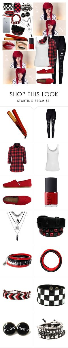 """""""Alex Dorame ~1~"""" by i-am-the-one-and-only ❤ liked on Polyvore featuring CHI, WithChic, American Vintage, TOMS and NARS Cosmetics"""
