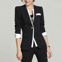 Women Fashion Business Coat Plus Size Slim Black Blazer Casual Suit Long Sleeve Top 2018 Autumn Single Button Jacket Outwear Blazer Jackets For Women, Blazers For Women, Coats For Women, Women Blazer, Black Blazer Casual, Fall Blazer, Half Sleeve Women, Blazer Pattern, Blazer And Shorts