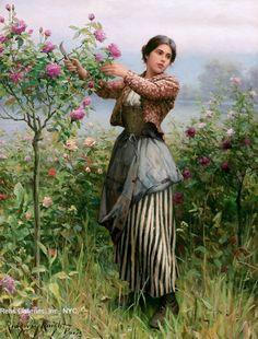 Knight, Daniel Ridgway (b,1839)- l- Cutting Roses -2b