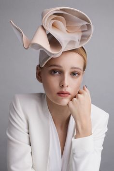 Sophie Beale Millinery | Leather Linen Ripple | Blush and Headpieces | LOVEHATS.COM
