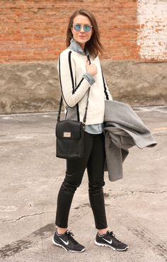 chambray under sweater, skinny pants, sneakers
