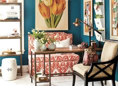 Love the wall color and the orange. Wall color is Varsity Blues from Benjamin Moore Coral Walls Bedroom, Blue Walls, Bedroom Colors, Bedroom Desk, Wall Colors, Paint Colors, Wall Desk, Colorful Chairs, Decorate Your Room