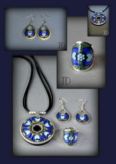 """""""Kashubian"""" set of jewellery. Made with fine silver and decorated with enamel cloisonne, unique technique of """"minankari""""."""
