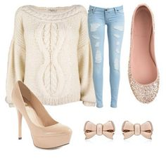 The jeans with the heals would be cute! #outfits