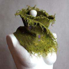Felted scarf, felt neckwarmer oliven green merino wool locks neck piece forest felted pixie collar art to wear, neck wrap by EsartFelt on Etsy https://www.etsy.com/listing/506946981/felted-scarf-felt-neckwarmer-oliven