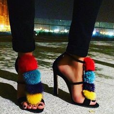 78.11$  Watch now - http://ai6xe.worlditems.win/all/product.php?id=32802759984 - Colorful Fleece Sandals Hollow Belt Buckle Female Street Shoes Cover Heel Stilettos Women Summer Sexy Narrow Band Pump Shoes