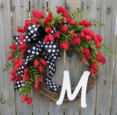 Spring Wreath Door Wreaths Spring Tulip Wreath by HornsHandmade