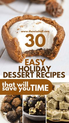 Holiday desserts that are perfect for Christmas, thanksgiving, etc. Easy dessert recipes for everyone to try. Easy Holiday Desserts, Desserts For A Crowd, Low Carb Desserts, Christmas Desserts, Christmas Cookies, Delicious Cookie Recipes, Healthy Dessert Recipes, Baking Recipes, Easy Recipes