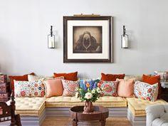 In the living space of interior designer Deborah French's eclectic Manhattan…