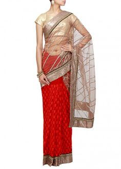 Half and half saree in grey and red embroidered in thread and sequence only on Kalki