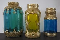 """tutorial using spaghetti sauce jars, glass paint, and dimensional paint...add some wiring and candles and you've got a Moroccan-inspired """"lantern"""""""