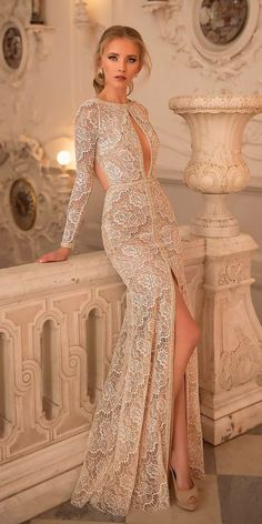 33 Chic Bridal Dresses: Styles & Silhouettes ❤ bridal dresses vintage lace long sleeves with high slit netta ben shabu ❤ See more: www. Sexy Wedding Dresses, Wedding Attire, Elegant Dresses, Bridal Dresses, Beautiful Dresses, Nice Dresses, Wedding Gowns, Prom Dresses, Wedding Bride
