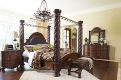 The North Shore bedroom set is completed in a dark brown color to create the ultimate grand style. The color flows beautifully over the decorative pilasters and ornate detailed appliques to create a rich elegant atmosphere to any home environment. Canopy Bedroom Sets, King Bedroom Sets, Bedding Sets, Bedroom Decor, Bedroom Furniture, Bedroom Ideas, Queen Canopy Bed Frame, Adams Furniture, Ideas