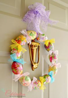 egg & ribbon wreath