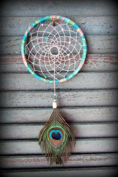Dream Catcher  Sweet Pea  peacock feather  by wingedwhimsy on Etsy, $31.00