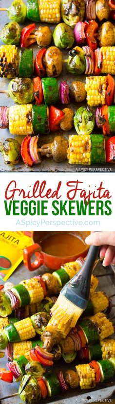 "Grilled Fajita Vegetable Skewers transform into sheer veggie ecstasy with the addition of zesty ""fajita butter"" made with melted butter, a little lemon juice, and seasoning mix."