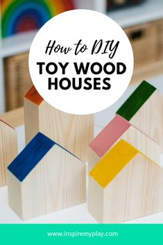How to DIY Toy Wooden Houses for Small World Play Looking for DIY gift ideas for kids? These little wooden play houses are perfect for all sorts of small world play and are easy and cheap to make. Small Wooden House, Wooden Houses, Diy Montessori Toys, Play Wood, Wooden Toys For Toddlers, Toy House, Small World Play, Wooden Playhouse, Waldorf Toys