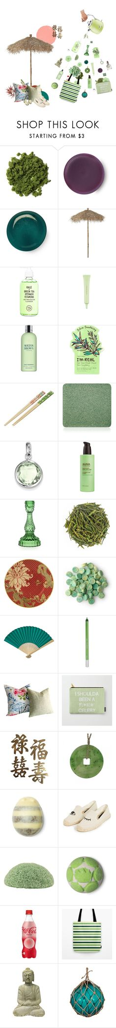 """Under the Green Tea Shower"" by iapo ❤ liked on Polyvore featuring Lene Bjerre, Youth To The People, nature republic, Molton Brown, TONYMOLY, Inglot, BillyTheTree, Ahava, Wedgwood and Cultural Intrigue"
