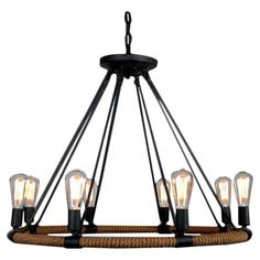 Illuminate your foyer or dining room in industrial-chic style with this lovely iron chandelier, featuring 8 bulbs and a jute-wrapped design.